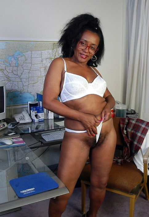 Large white panty hide the black pussy. Hairy black pussy of old teacher. Elderly woman stripped in class
