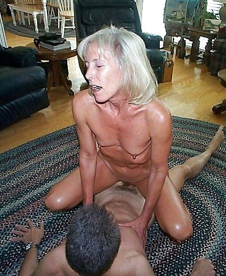Old nympho fucks with the guy in the kitchen and in the living room, she jumps on his cock and does blowjob, this granny knows how to fuck his brains