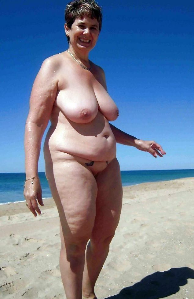 Czech mature woman with huge natural boobs topless in the vacation