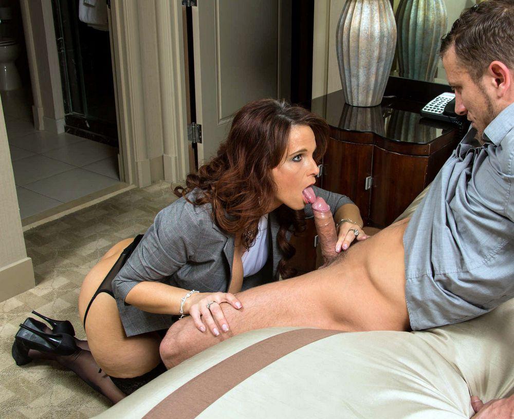 Mature teacher Syren Demer doing magnificent blowjob topless
