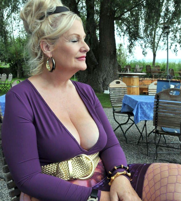 Compilation of photos in which busty mature women with face in fresh jizz outdoor