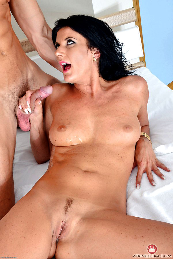 Dark haired cougar Celine stripped of nylons before banging big cock